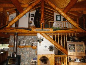 Interior view of cabin with loft above