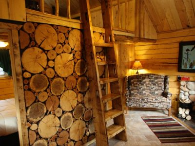 Interior of Eagle's Nest cabin with wall made of wood and ladder leading to loft