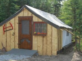 Exterior of glamping cabin