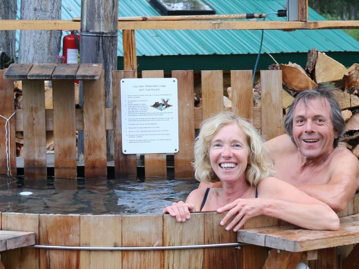 Man and lady enjoying hot tub